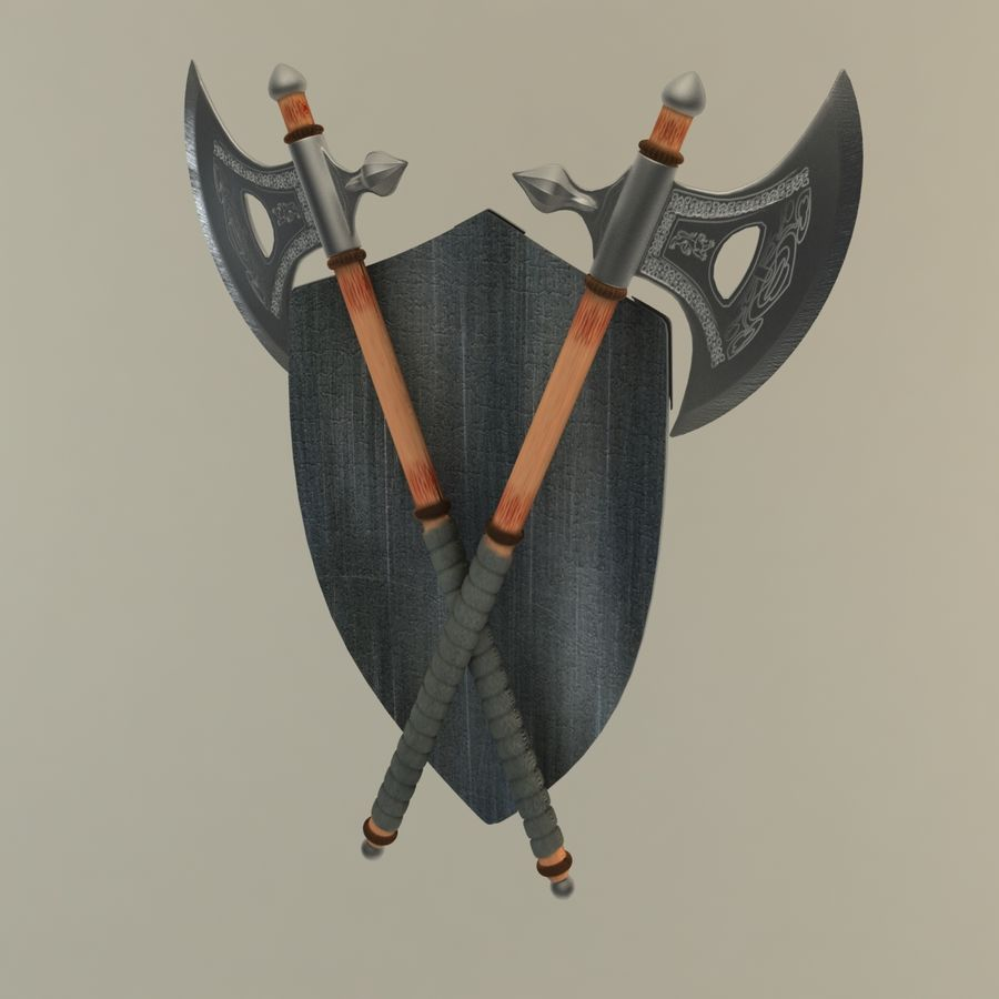 Shield Axe Hangers royalty-free 3d model - Preview no. 5