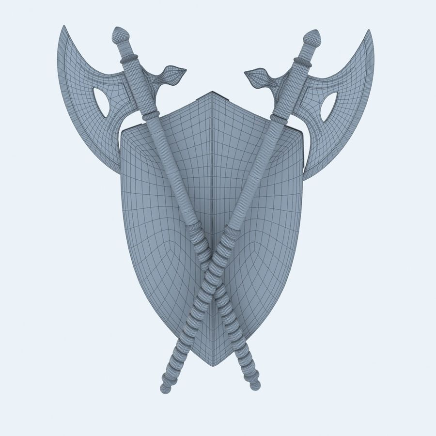 Shield Axe Hangers royalty-free 3d model - Preview no. 10