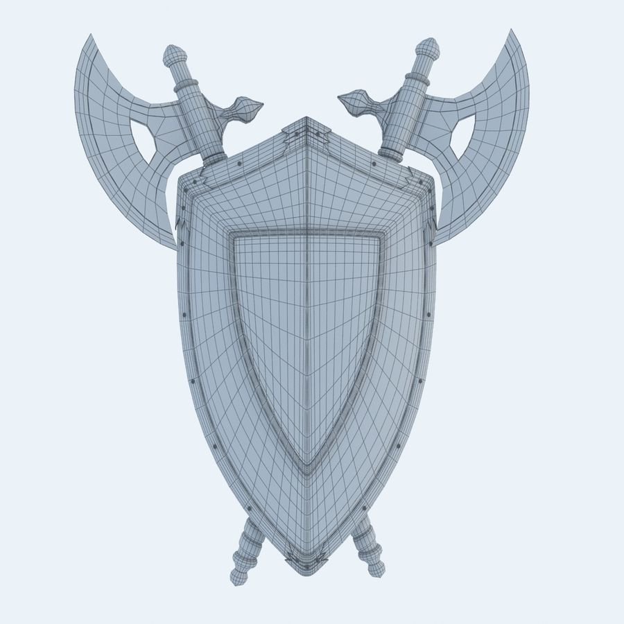 Shield Axe Hangers royalty-free 3d model - Preview no. 9