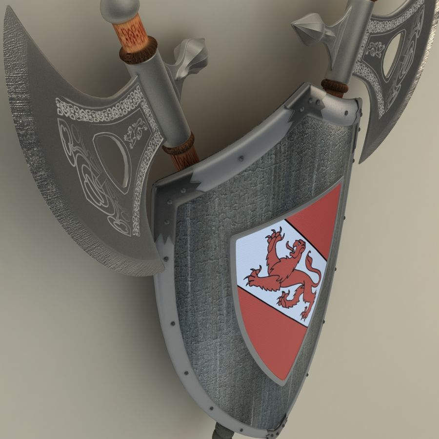 Shield Axe Hangers royalty-free 3d model - Preview no. 4