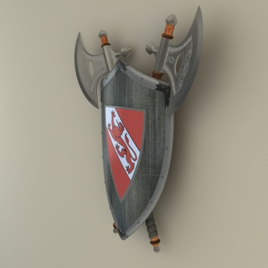 Shield Axe Hangers royalty-free 3d model - Preview no. 7