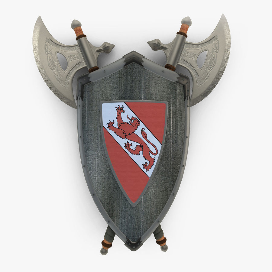 Shield Axe Hangers royalty-free 3d model - Preview no. 1