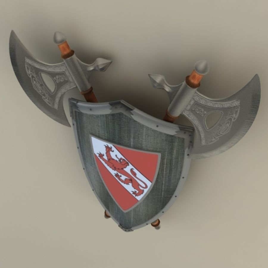 Shield Axe Hangers royalty-free 3d model - Preview no. 6