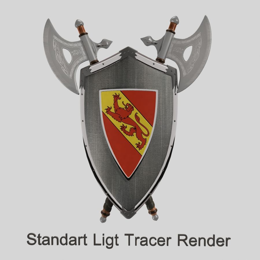 Shield Axe Hangers royalty-free 3d model - Preview no. 11