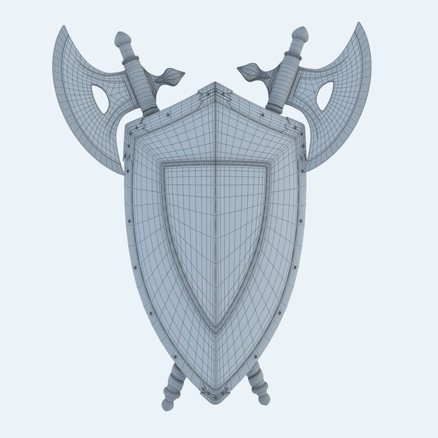 Shield Axe Hangers royalty-free 3d model - Preview no. 8