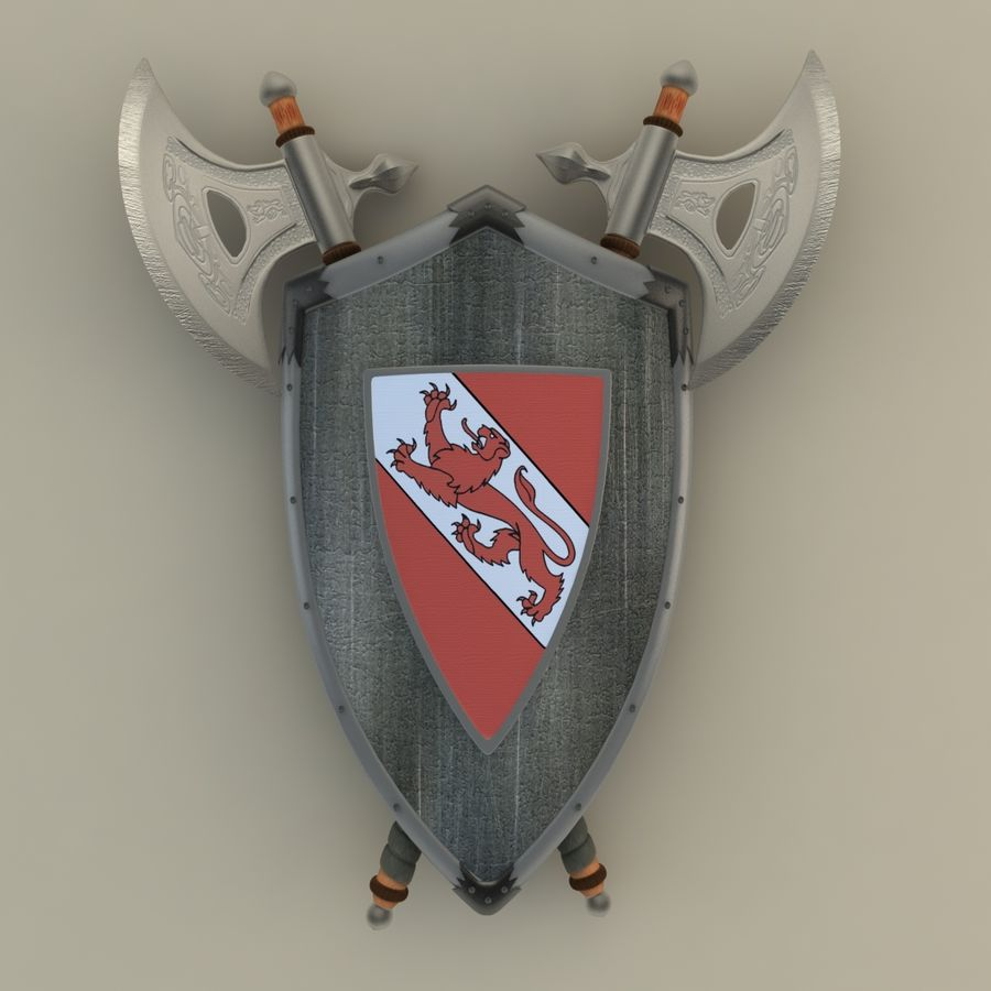 Shield Axe Hangers royalty-free 3d model - Preview no. 2