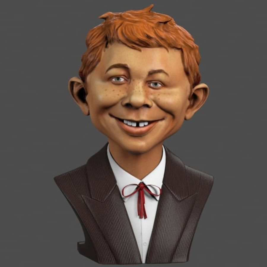 Alfred E. Neuman Bust royalty-free 3d model - Preview no. 2