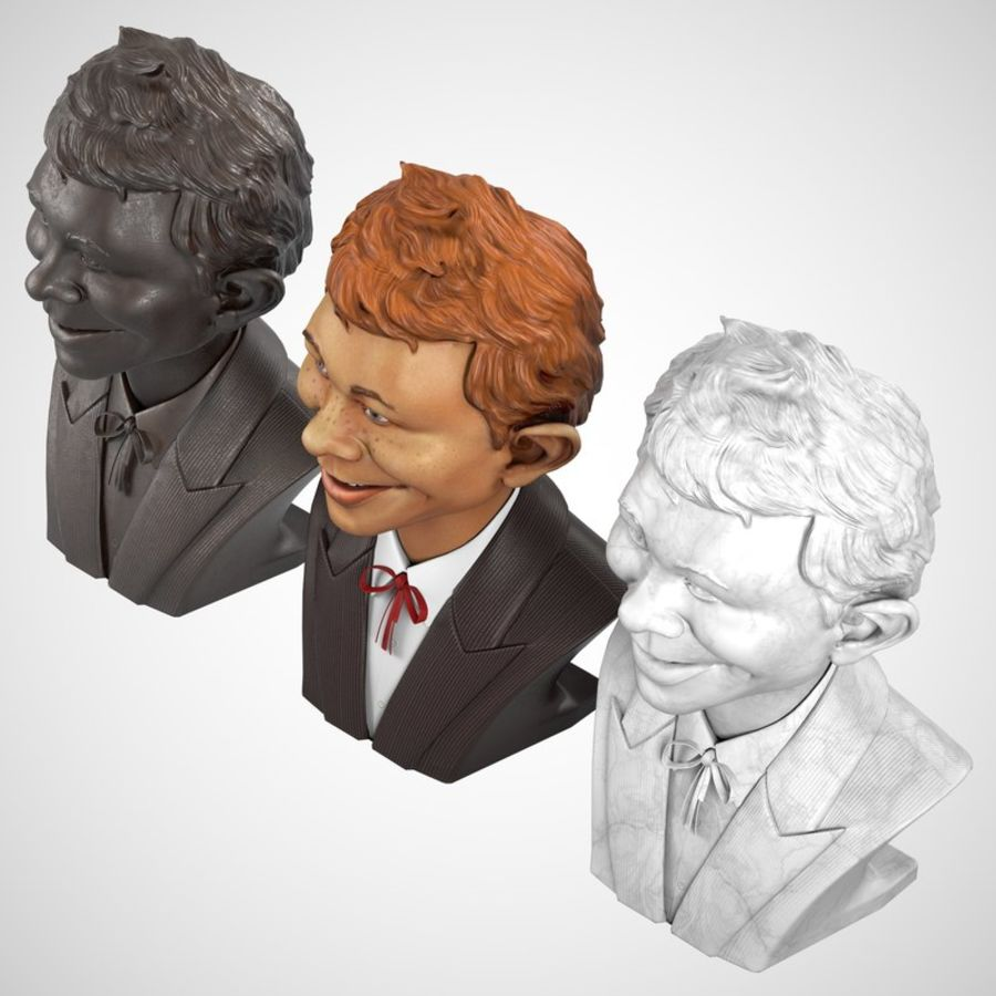 Alfred E. Neuman Bust royalty-free 3d model - Preview no. 5