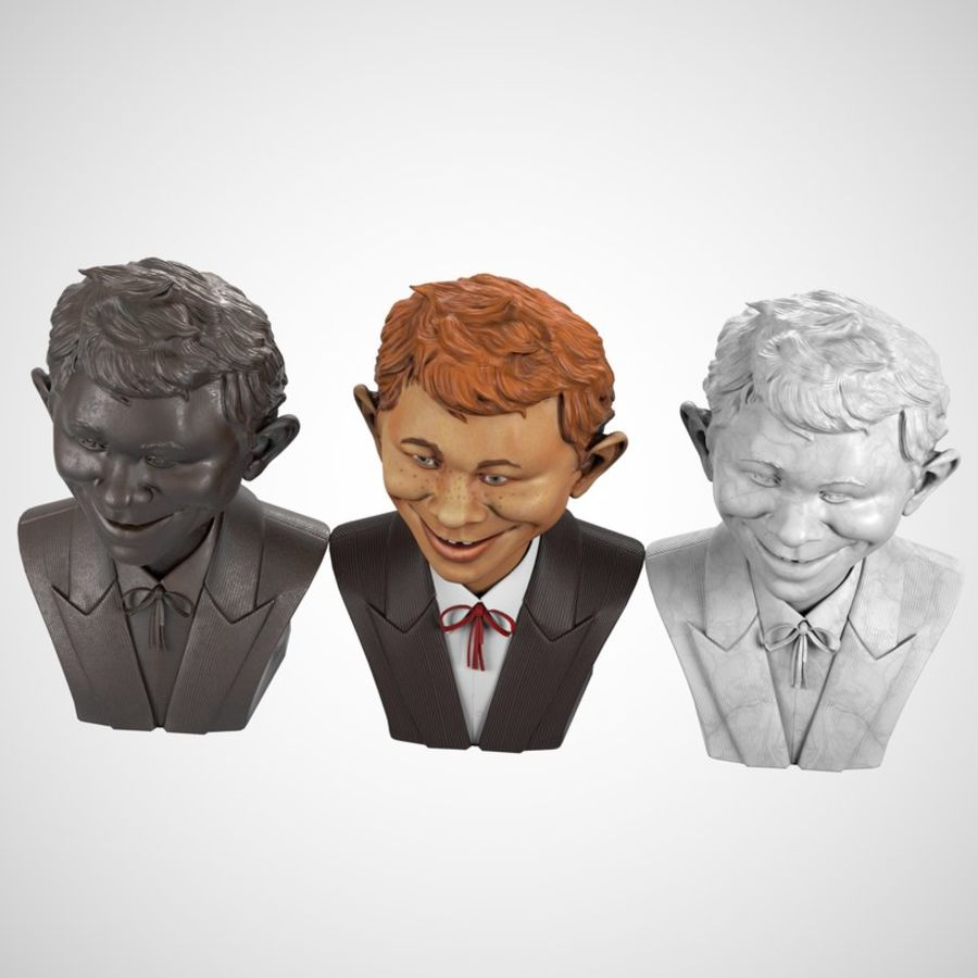 Alfred E. Neuman Bust royalty-free 3d model - Preview no. 6