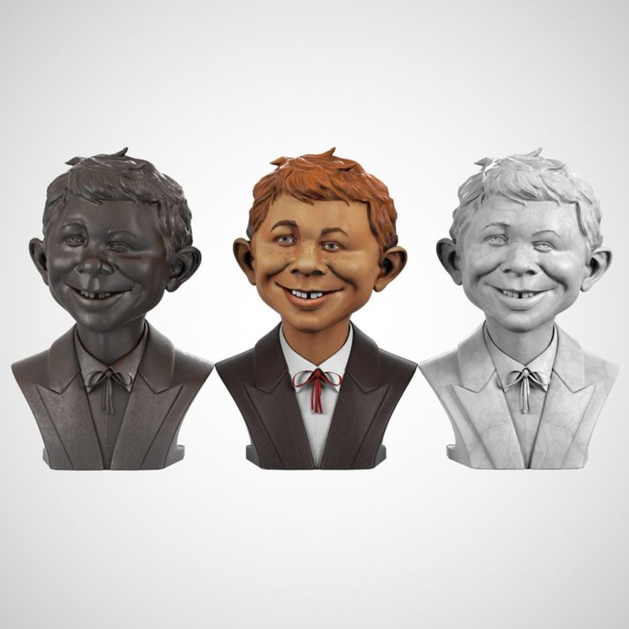 Alfred E. Neuman Bust royalty-free 3d model - Preview no. 7