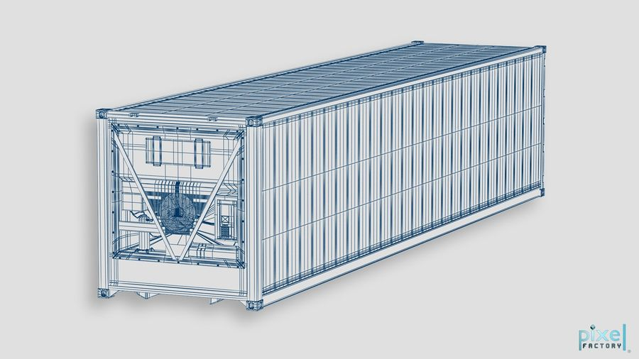 40 feet reefer Container royalty-free 3d model - Preview no. 8