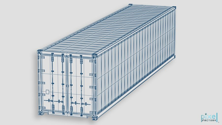 40 feet reefer Container royalty-free 3d model - Preview no. 7