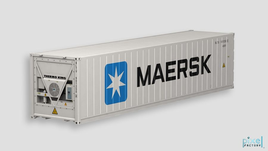 40 feet reefer Container royalty-free 3d model - Preview no. 1
