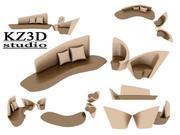 ID010 Sofa de luxe 3d model
