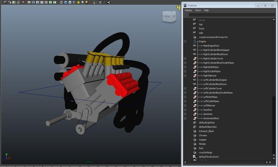 Silnik Ariel Atom V12 royalty-free 3d model - Preview no. 4
