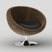 Rattan papasan style swivel chair Oliana 3d model