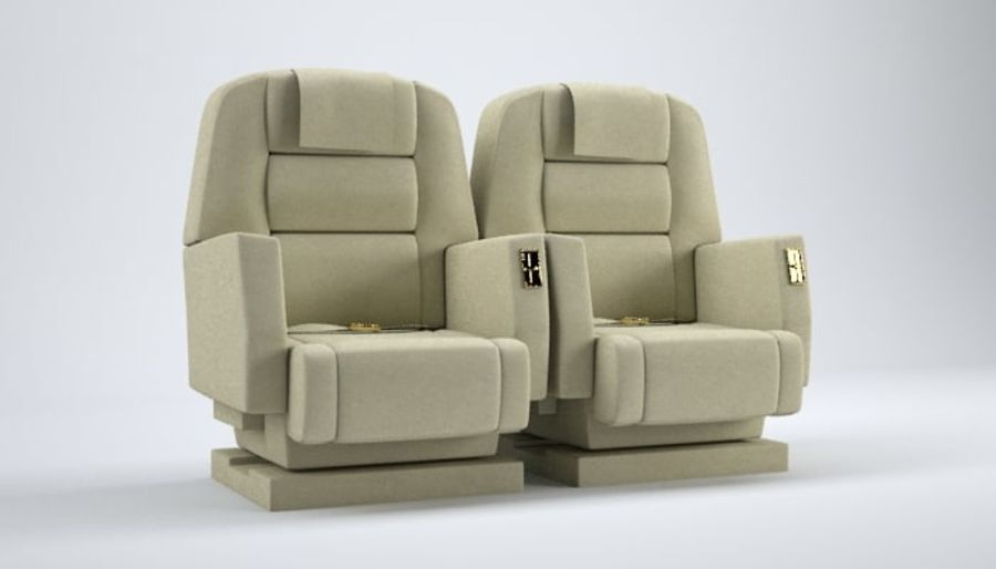 Aircraft Plane Seats royalty-free 3d model - Preview no. 1
