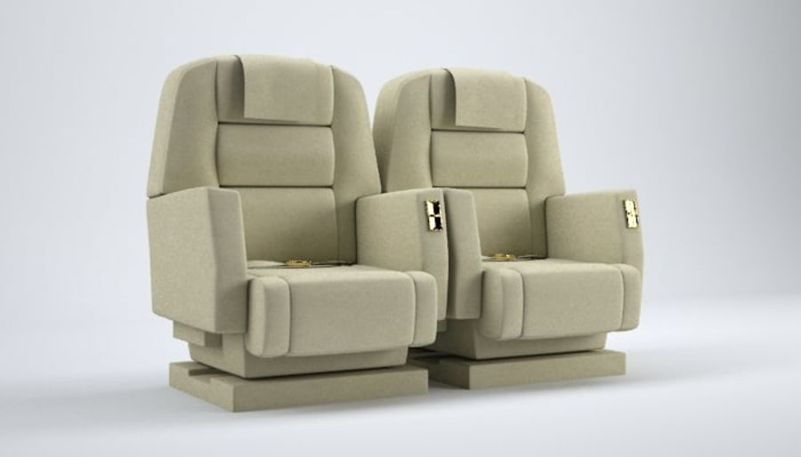 Aircraft Plane Seats royalty-free 3d model - Preview no. 9