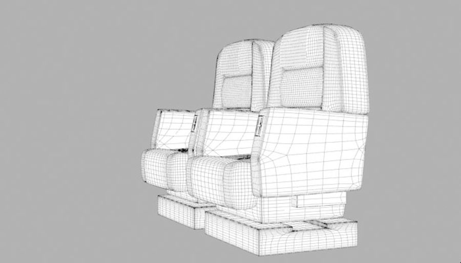 Aircraft Plane Seats royalty-free 3d model - Preview no. 16