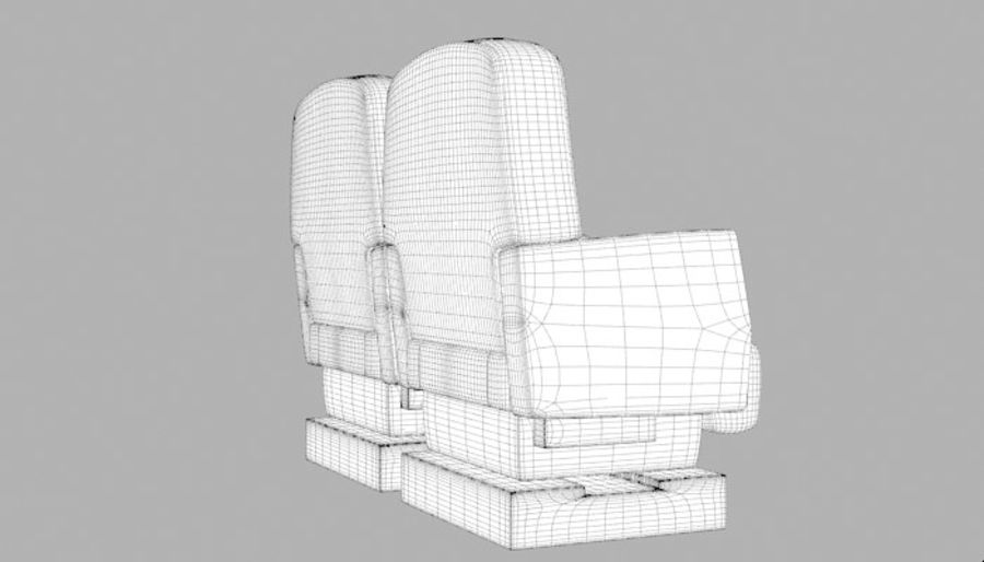 Aircraft Plane Seats royalty-free 3d model - Preview no. 12