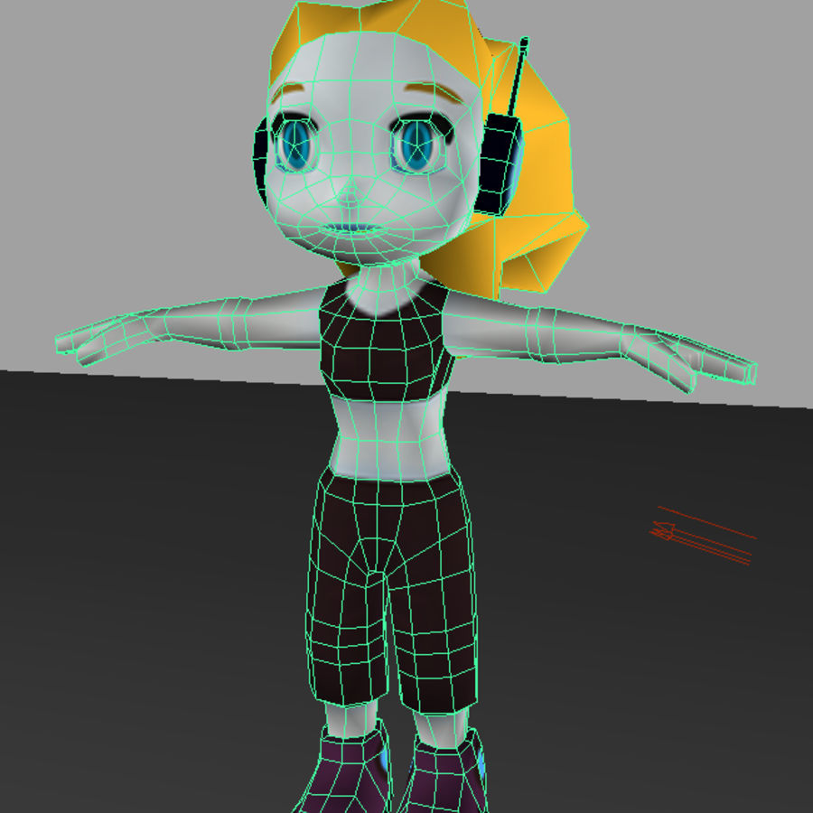 Cartoon Girl Character royalty-free 3d model - Preview no. 7