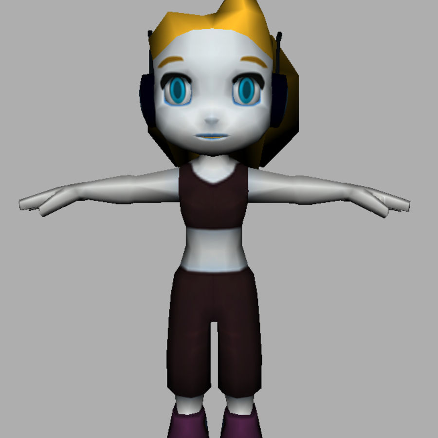 Cartoon Girl Character royalty-free 3d model - Preview no. 12