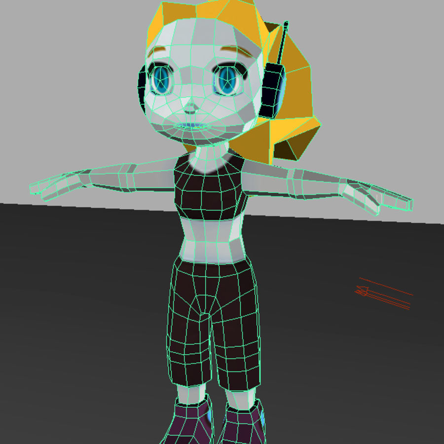 Cartoon Girl Character royalty-free 3d model - Preview no. 8