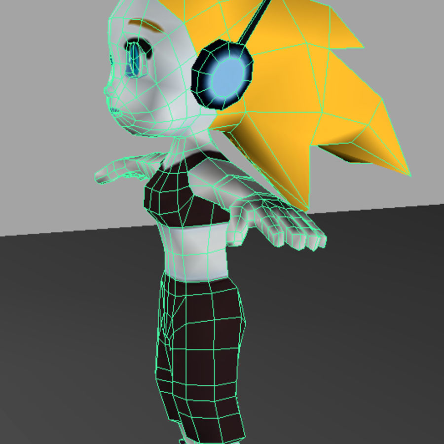 Cartoon Girl Character royalty-free 3d model - Preview no. 10