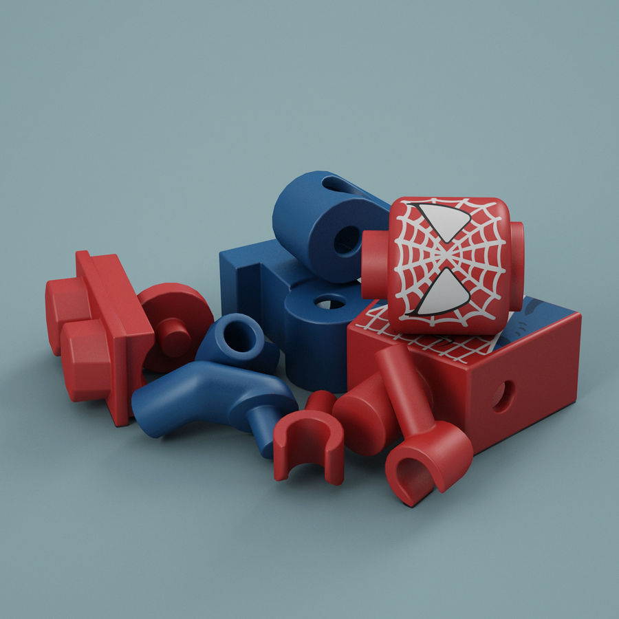 Lego Spider Man royalty-free 3d model - Preview no. 14