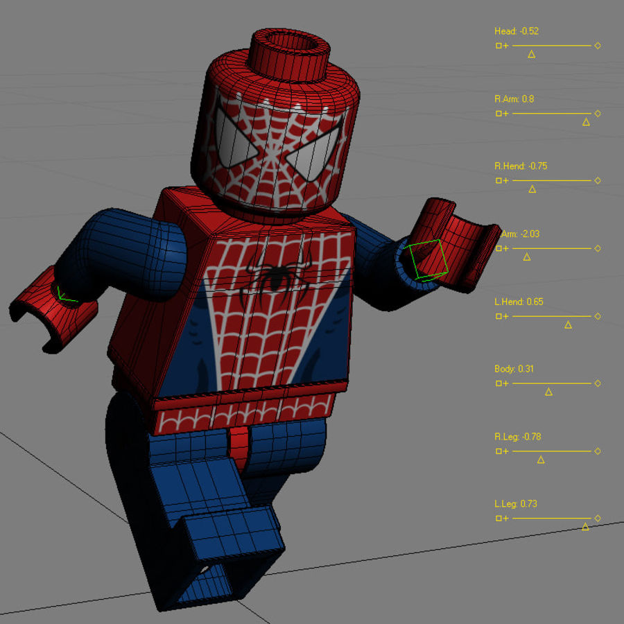Lego Spider Man royalty-free 3d model - Preview no. 13