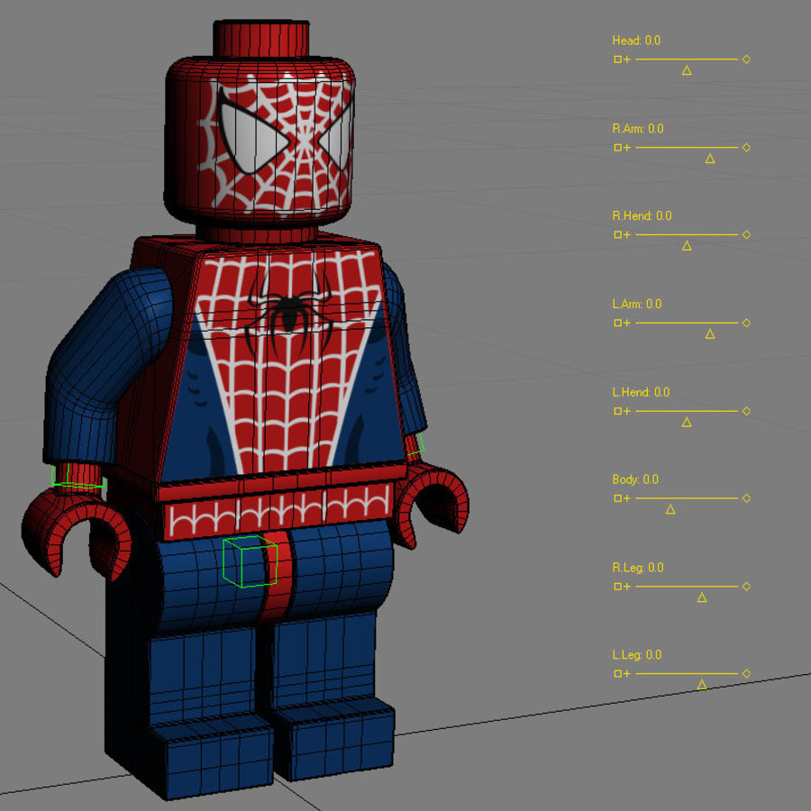 Lego Spider Man royalty-free 3d model - Preview no. 12