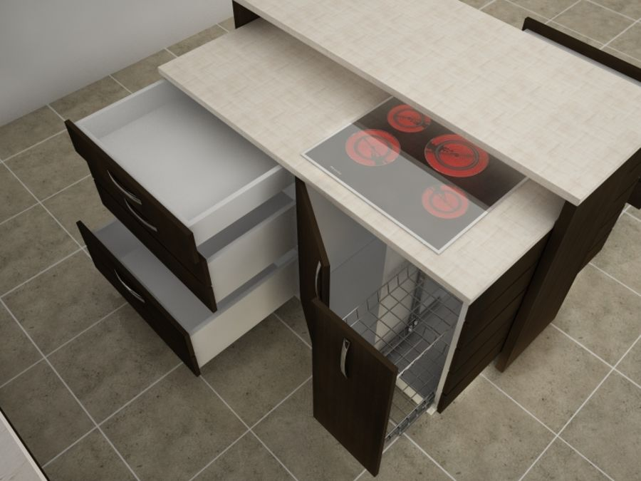 Modern kitchen royalty-free 3d model - Preview no. 4