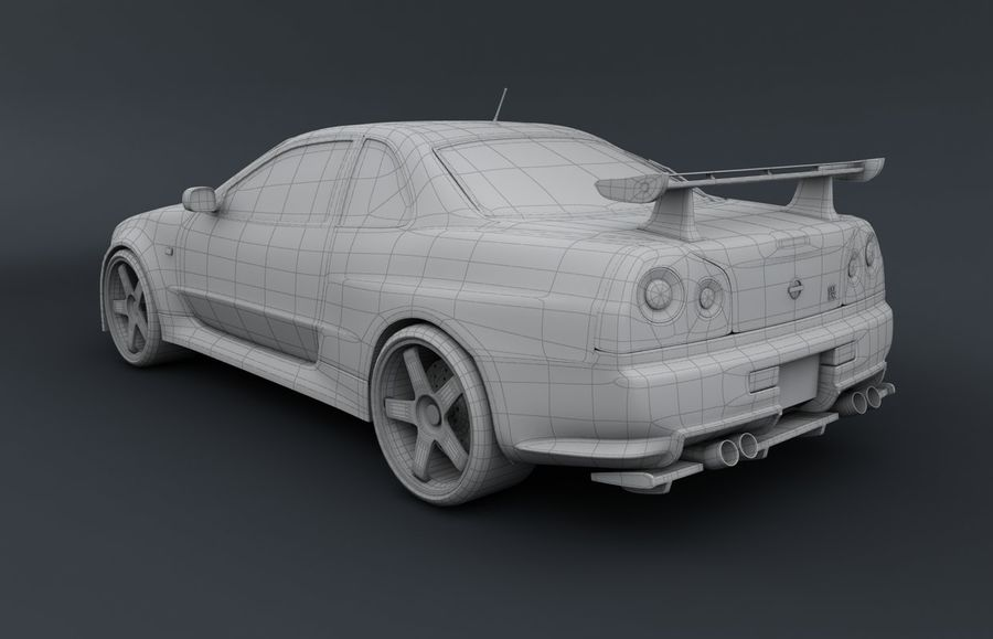 Nissan Skyline GT-R royalty-free 3d model - Preview no. 6