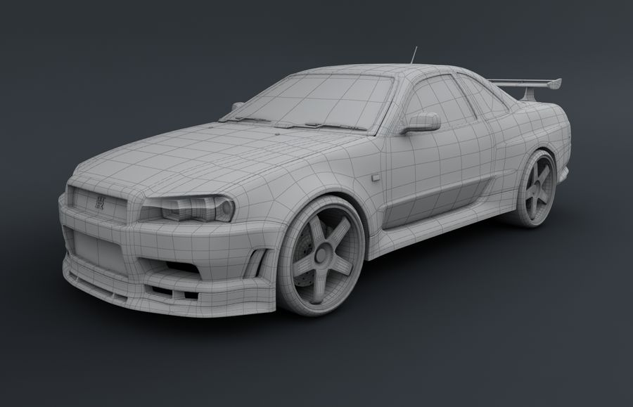 Nissan Skyline GT-R royalty-free 3d model - Preview no. 5