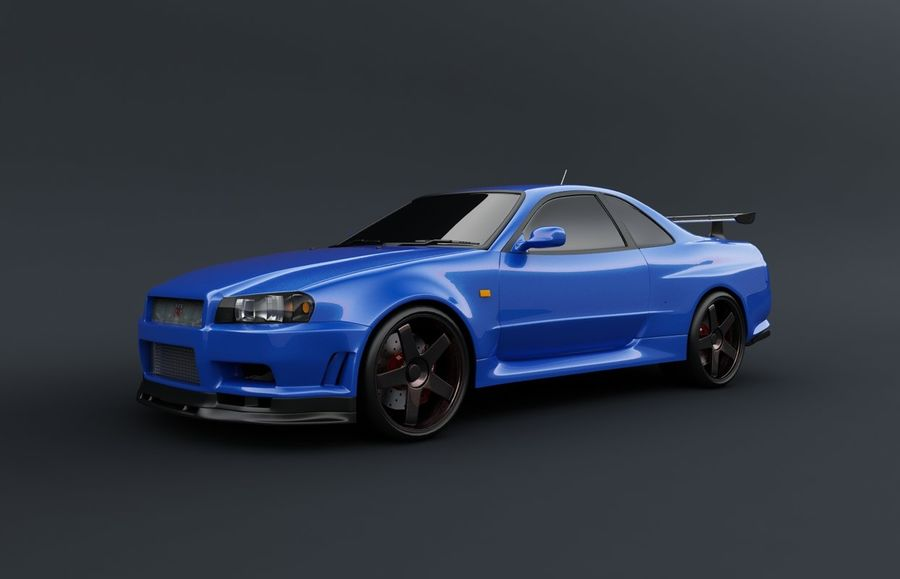Nissan Skyline GT-R royalty-free 3d model - Preview no. 1