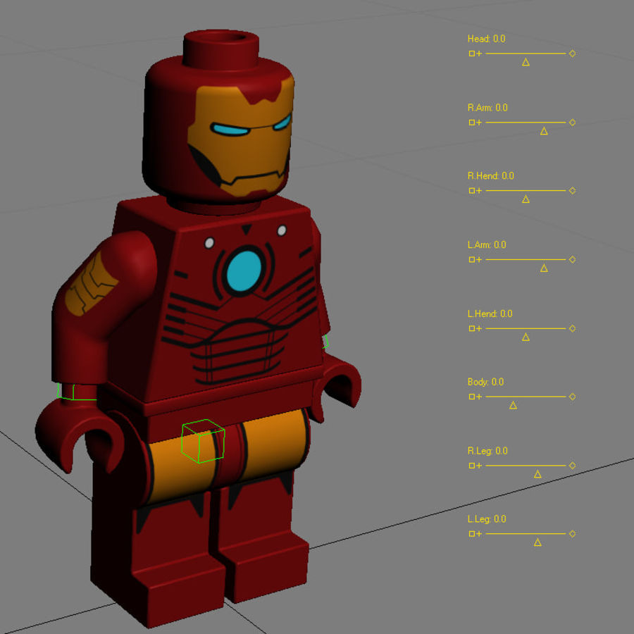 Lego Iron Man royalty-free 3d model - Preview no. 12