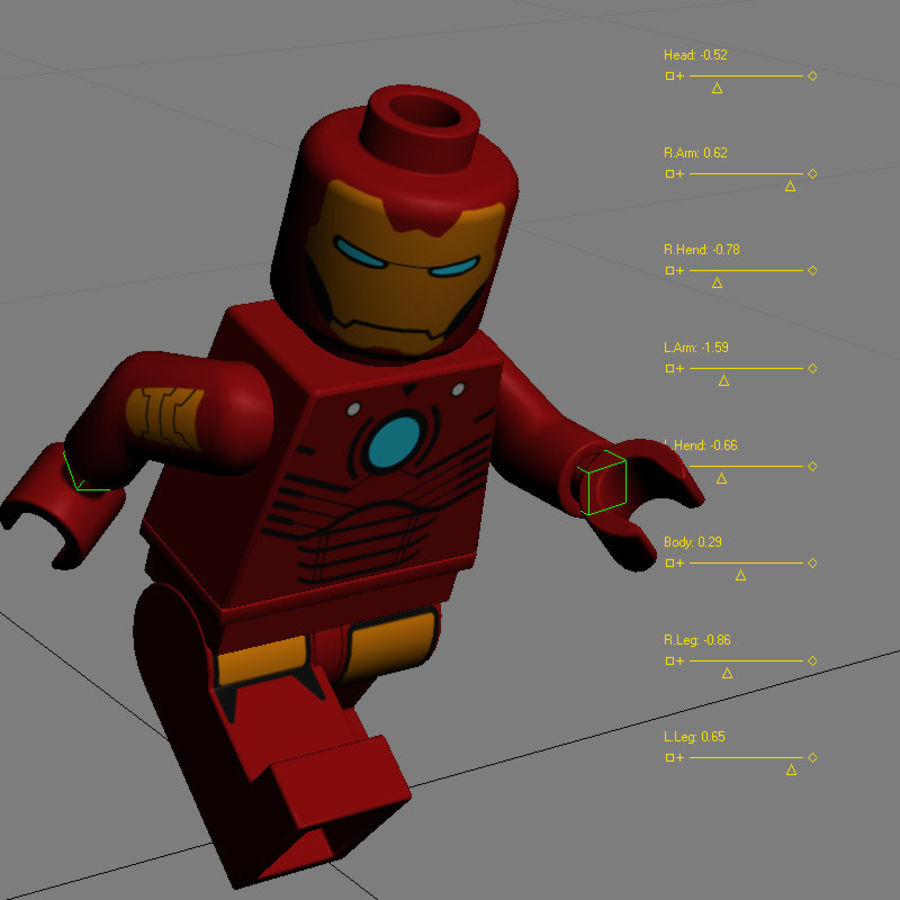 Lego Iron Man royalty-free 3d model - Preview no. 13