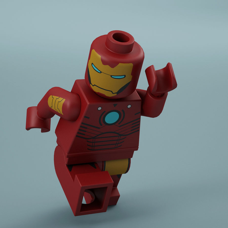 Lego Iron Man royalty-free 3d model - Preview no. 3