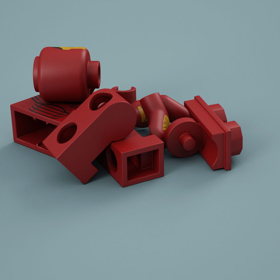 Lego Iron Man royalty-free 3d model - Preview no. 15