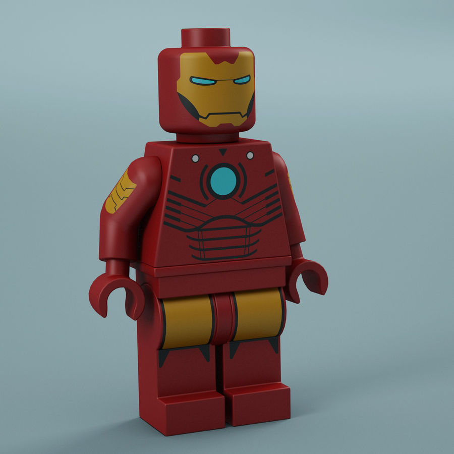 Lego Iron Man royalty-free 3d model - Preview no. 11