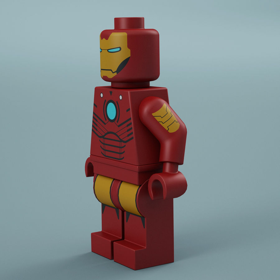 Lego Iron Man royalty-free 3d model - Preview no. 4
