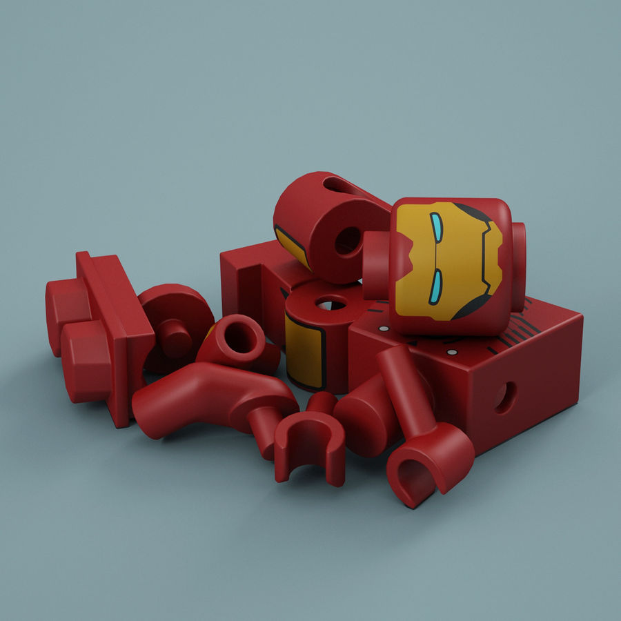 Lego Iron Man royalty-free 3d model - Preview no. 14