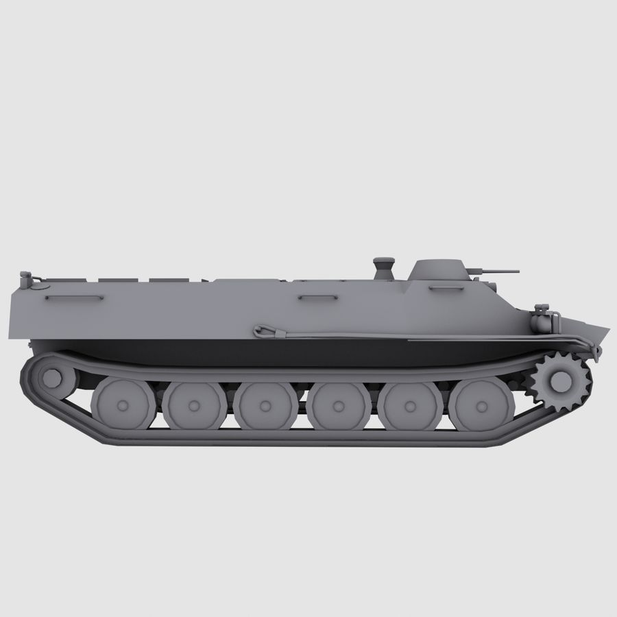 MT-LB Russian Army Armored Transport Tug Game Model royalty-free 3d model - Preview no. 3