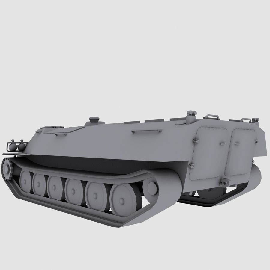 MT-LB Russian Army Armored Transport Tug Game Model royalty-free 3d model - Preview no. 8