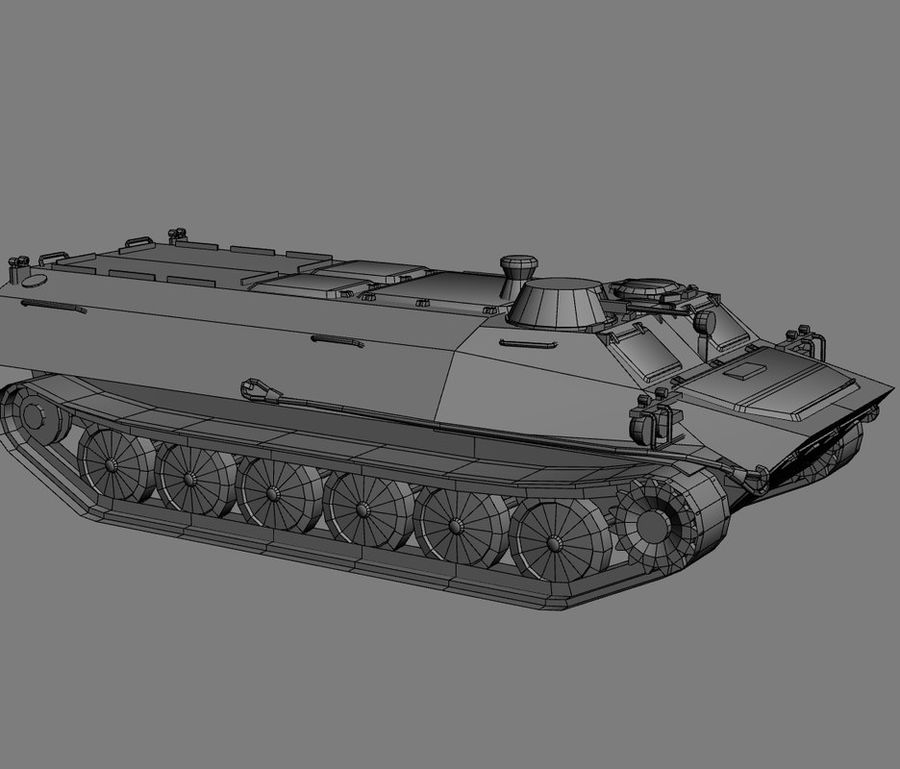 MT-LB Russian Army Armored Transport Tug Game Model royalty-free 3d model - Preview no. 18