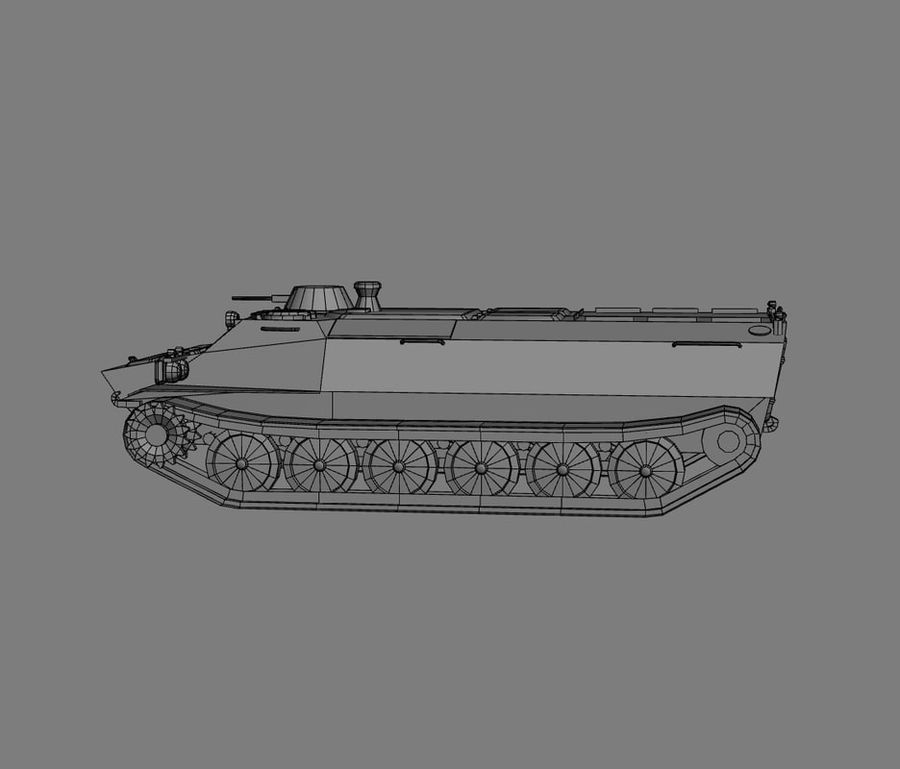 MT-LB Russian Army Armored Transport Tug Game Model royalty-free 3d model - Preview no. 24