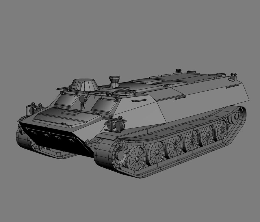 MT-LB Russian Army Armored Transport Tug Game Model royalty-free 3d model - Preview no. 25