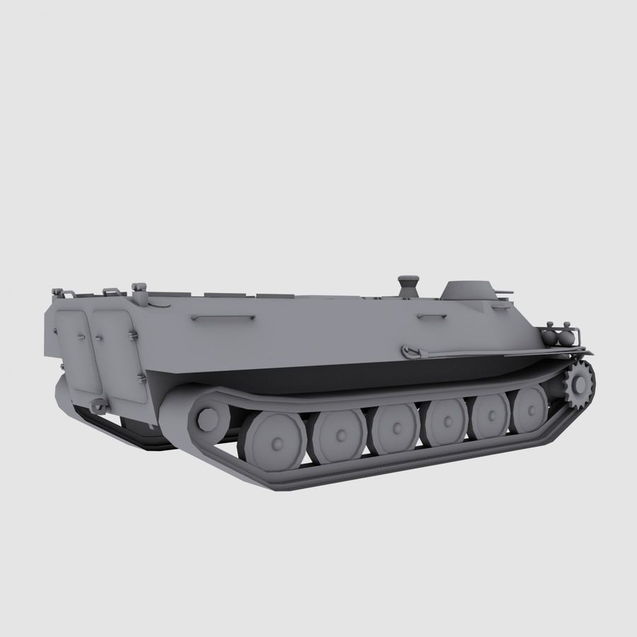 MT-LB Russian Army Armored Transport Tug Game Model royalty-free 3d model - Preview no. 4