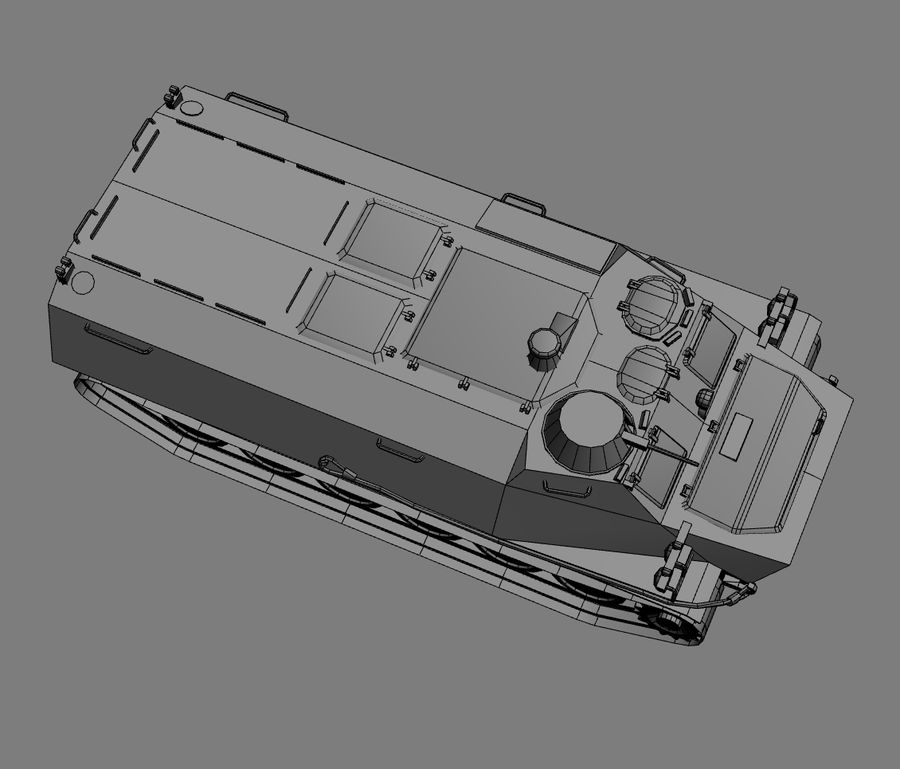 MT-LB Russian Army Armored Transport Tug Game Model royalty-free 3d model - Preview no. 27