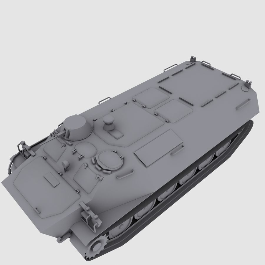 MT-LB Russian Army Armored Transport Tug Game Model royalty-free 3d model - Preview no. 13